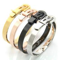 hebilla de titanio al por mayor-Fashion Classic Titanium Steel Belt Buckle Love Bracelet Bangle Para Pareja Mujer Hombre 4 Color Para que usted elija