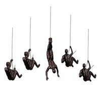 Wholesale climbing wall decor online - Abstract Rock Climbing Character Pendant Retro Wall Muscle Man Floating Statue Restaurant Bar Living Room Home Background Wall Decor
