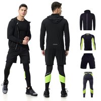 Wholesale man tight yoga pant for sale - Group buy Hot Set Autumn Men s Compression Yoga Running Suit Fitness Long T shirt Coat Pants Training workout Tight Sportswear