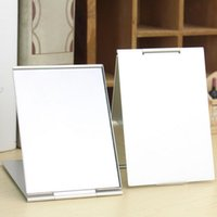 серебряное прямоугольное зеркало оптовых-1PC 6 Sizes Rectangle Mirror Silver Aluminium Alloy Cover Ultra-thin Foldable  Mirror Unbreakable Pocket Cosmetic Tool