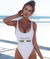 Wholesale quality womens size clothing for sale - Group buy Womens Swimwear New ss High Quality Women Clothes Bikinis One Piece Playsuits Multi Letter Printed Backless Bikini Swimwear Size S XL