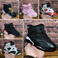 обувь для молодежи оптовых-Nike Air Jordan 6 2018 Дети 6 баскетбол обувь для мальчиков девушки ретро инфракрасный Кармин 6 S UNC Toro Заяц Oreo бордовый молодежные спортивные кроссовки дети размер EU28-35