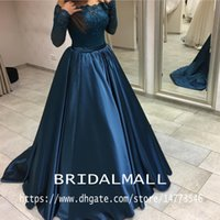 Wholesale pearl pink long evening dresses resale online - Off Shoulders Navy Blue Satin Ball Gown Prom Dresses Pearls Applique Lace Elegant Formal Evening Dress Long Arabic Party Gowns Pageant
