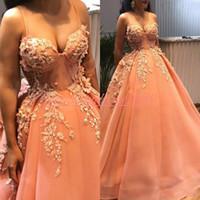 Wholesale african prom dresses resale online - Exquisite Lace Evening Dresses Spaghetti Tulle Orange Formal Pageant Party Dress Plus Size African Prom Juniors Gowns Vestido de noche