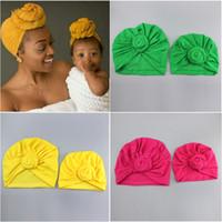 pañuelos de algodón al por mayor-Nueva padres e hijos anudada de algodón las gorras de los niños de diseño de las vendas hat Pañuelos tapa de turbante accesorios niña pelo de los niños