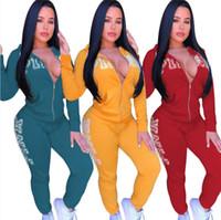 trajes de color rojo más mujeres de talla al por mayor-2019 Carta de Otoño Imprimir Chándal Mujer Trajes Casuales Conjunto de dos piezas Pantalones Trajes Ropa de talla grande Amarillo Verde Rojo