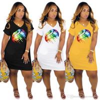 Wholesale cute rainbow dress resale online - Designer Woman Summer Dresses Hot Style Cute Sexy V Neck Rainbow Lip Dresses Womens Summer Clothing