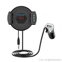 ingrosso cid telefono-ALD60 Trasmettitore FM Bluetooth Car Kit vivavoce MP3 Music Audio Player Caricabatteria per auto Ventosa Supporto per telefono Vivavoce per auto