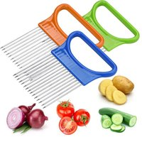 Wholesale kitchen aid resale online - Shredders Slicers Tomato Onion Vegetables Shredders Cutting Aid Holder Guide Slicing Cutter Stainless Steel Safe Fork Kitchen tools