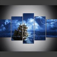 ingrosso pittura a olio d'onda-5 pezzi di grandi dimensioni tela wall art immagini creativo barca a vela onda fulmine notturno tuono arte stampa pittura a olio per soggiorno decor
