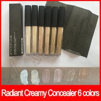 Wholesale types makeup brushes resale online - Face makeup Radiant Creamy Concealer Liquid Foundation six colors Anti Cernes Eclat ml With Brush Texture Cremeuse