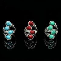 hokey yılbaşı hediyeleri toptan satış-Moda Bohemia Oval Kesim Kırmızı / Yeşil / Mavi Turkuaz Taş Tibet Kabile Gümüş Paslanmaz Çelik Yüzük Boyutu 7-10