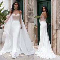 Wholesale cape train wedding dress resale online - 2020 Delicate Mermaid Wedding Dresses With Cape Sweetheart Sheer Backless Long Sleeve Wedding Gowns Beach Country Bridal Dress