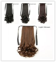 Wholesale synthetic long hair ponytail for sale - Group buy Lace up Ponytail Female Long Roll Pear Flower Big Wave Ponytail Long Medium And Short Three Models Naturally Realistic And Handsome