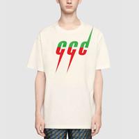 camisas pretas homens venda por atacado-Logotipo 19SS Relâmpago Impressão Tee Verão Made In Italy Moda Top Quality Bege Preto Algodão Camiseta Casual Mulheres Homem T-shirt HFLSTX403