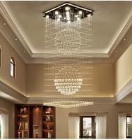 ingrosso luci soffitto forma quadrata-Lampadari di cristallo quadrati contemporanei goccia di pioggia plafoniera a filo luci scale lampade hotel villa lampada a forma di sfera di cristallo