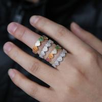 zarif parmak halkası toptan satış-Loving kalp şekilli alyans kadın erkek için nişan parmak takı narin gökkuşağı cz renk gümüş takı boyutu # 6 7 8