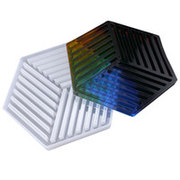 Wholesale make coasters resale online - Hexagon Coasters Silicone Mold DIY Resin Molds Stripe Triangle for Table Mat Decoration Jewellery Making Craft Silicon Mould
