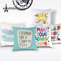 Wholesale custom cushion case resale online - Cartoon Letter Cushions Cover Colorful Simple Decor Pillow Case Lovely White Cushions Covers for Custom Car Sofa Pillows Cojin