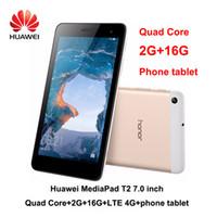 huawei dual android телефоны оптовых-Компания Huawei MediaPad на Т2 7.0 дюймовый LTE-фаблет 4G Андроид 6.0 четырехъядерный 1,5 ГГц 2 ГБ оперативной памяти 16 Гб ROM двойная камера 2.0 MP 4100 мА / ч телефон планшет