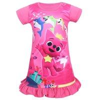 bebek gece kıyafetleri toptan satış-Kızlar bebek köpekbalığı Elbise Çocuk güzel karikatür köpekbalığı Baskı Kısa kollu Parti elbiseler prenses elbise gece etek ...