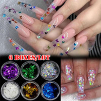 Wholesale star glitter nail art resale online - 6Pcs Set Random Mixed Nail Glitter Holographic Sequins Red Holo Thin Round Butterfly Star Paillette Nail Art Flakes Sheets Tips