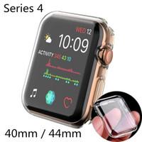 protector de pantalla apple watch 42mm al por mayor-Cubierta de reloj para Apple Estuche de reloj 40mm 44mm Serie 4 Soft Slim TPU Ultra-delgado Protector de pantalla transparente Estuche Accesorios de reloj