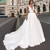 Wholesale plunging neck back line wedding dress resale online - New Satin A Line Wedding Dresses with Sheer Illusion Plunging Neckline and Open Back Wedding Dress with Beaded Waistband and Gathered Skirt
