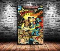 lienzos sin marco al por mayor-1 Piezas Impresiones de Lienzo Arte de la pared Pintura al óleo Decoración del hogar Superman Vs Muhammad Ali (sin marco / enmarcado) 24x36.