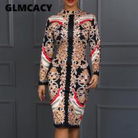ethnische damen lange kleider großhandel-Frauen Langarm Rollkragen Elegant Party Kleid Sexy Vintage Gericht Ethnische Gedruckt, Figurbetontes Kleid Noble Dame Midi Vestidos