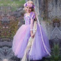 ingrosso abiti di sfera dei capretti viola-Little Girls Princess Dress Solid Gauze Ruffle Puff Sleeve Purple Ball Gown Dress Baby Girl Abiti Kids Designer Abbigliamento Ragazze 4-12T 07