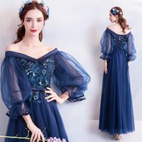 Wholesale women fairy princess gown for sale – halloween Blue long long sleeve fairy sweat lady girl women princess bridesmaid banquet party ball dress