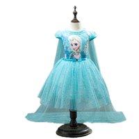 ingrosso linea congelata-2019 Best Frozen Princess Dress Abbigliamento per bambini Bambini Cos Girl Abiti Summer Dress Abiti da principessa Fshion Cosplay Clothing