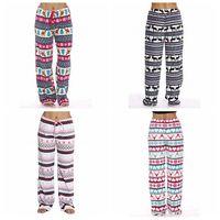 Wholesale leg plush resale online - Women plush Christmas Floral Pants Flare Wide Leg Long Pants Palazzo Trousers Pant deer Boho Bohemian elk loose Pants bottom LJJA3156