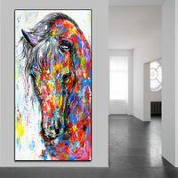 soyut sanat posteri toptan satış-Tuval Üzerine Modern Soyut Yağlıboya At Resim, Baskılı Büyük Tuval Duvar Sanatı Kırmızı At Başkanı Oturma Odası Ev Dekor için Duvar Posteri