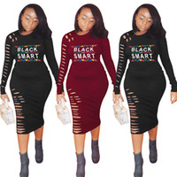 Wholesale neck hole gown for sale - Group buy Letter Print Long Sleeve Dress Women Black Smart Spring Summer Bodycon Ripped Hole Dresses Night Club Party Slim T Shirt Skirt LJJA2286