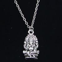 Wholesale silver ganesha resale online - 20pcs New Fashion Necklace x14mm Ganesha elephant buddha Silver Pendants Short Long Women Men Colar Gift Jewelry Choker