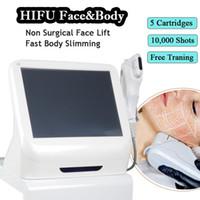maquinas laser para arrugas faciales al por mayor-Hifu máquina de cara de alta frecuencia de ultrasonido láser equipo de estiramiento facial HIFU eliminación de arrugas máquinas ajustadas de la piel envío gratis