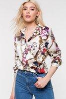 neue art und weisefrauen chiffon- bluse großhandel-Frauen Chemise Frühling Gedruckt Einreiher Blusen 19ss Neue Herbstmode Luxus Designer Shirts Tops Langarm