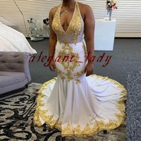 Wholesale sexy two piece halter dresses resale online - White and Gold Halter Mermaid Prom Dresses Sequined Lace Appliques Backless African Sweep Train Plus Size Trumpet Evening Wear Gowns