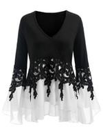 17140828bb3bb3 Gamiss Plus Size 5XL Sexy Bell Flare Sleeve Chiffon Tunic Tops Lace Crochet  Peplum Blouse Women Clothing Big Size Autumn 2018 Y190422