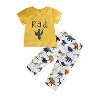 Wholesale girls thin pants resale online - Summer Baby Girls Suit Thin Cotton Letter Round Neck Short Sleeve Top Dinosaur Printed Elastic Bandage Pants Piece Set