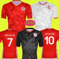 jérseis de futebol nacionais personalizados venda por atacado-19 20 Tunísia equipe de futebol Camisas de Futebol 7 Msakni 10 Khazri 23 Sliti Wahbi Khaoui FAKHREDDINE BEN YOUSSE HAMZA Personalizado Camisa de Futebol Vermelha