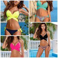Wholesale hot bikini xxl resale online - Pinkycolor Big Code Bikini Set Europe And America Fashion Ladies Swimming Suit Summer Beach Sexy Swimsuit Hot Sale xxI1