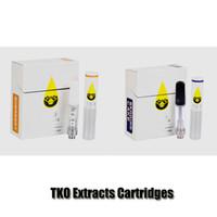 tropfpatronen großhandel-TKO Extrakte Cartridges 0,8 ml 1,0 ml Schwarz Drip Tip Keramik Coil TKO Carts Thick Ölpatrone Vape-Behälter mit 20 Flavors Box