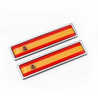almanya bayrakları toptan satış-Almanya İspanya bayrağı Çinko alaşım Araba Sticker Etiket Amblem Rozet araba styling [58x14mm] Citroen Volvo için fit