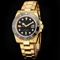 Wholesale sport watch chrono resale online - Luxury Watches Men Automatic Ceramic Bezel Dial Gold Stainless Steel Chrono Watches Man Wristwatch New Sports Runaway Wristwatch Relojes