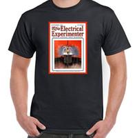 dergi baskısı toptan satış-Yıldırım Sipariş, Dergi Kapağı, Nikola Tesla, Tüm Boyutları Stilleri, NWT Yeni Tee Baskı Erkek T-Shirt Üst yaz Sıcak Satış
