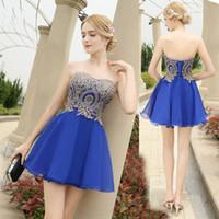 Wholesale cocktail gown designs resale online - ADLN New Fashion Royal Blue vestido de noiva Short Design Lace Up Bridal Party Cocktail Dress A line Chiffon Gown