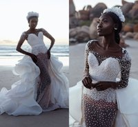 Wholesale long pearl tulle resale online - Luxury Full Pearls Memaid Beaded Mermaid Wedding Dresses With Detachable Train Sparkly Balck Girl Long Sleeves Sheath Bridal Gown